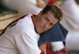 8 April, 2005  Cardinals starting pitcher Mark Mulder in the dugout after a first inning in which...