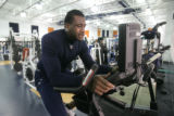 0193 Denver Broncos defensive end Jarvis Moss spends part of his first official day working out...
