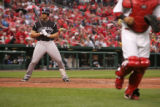 Matt Holliday rects after striking out in the 3rd inning of the Colorado Rockies against the St....
