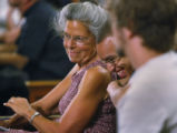 Sarah Seeds (cq) of California and Daniel Butler (cq) share a laugh while waiting to hear...