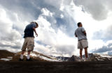 (MT. EVANS, CO., MAY 28, 2004)  Derek Schmidt, of Colorado and his father Neal Schmidt, of Ohio,...