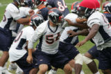 #54, Spencer Larsen (cq) practices with the special teams at the Denver Broncos Football Club,...