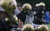 Ryan Miller a true sophomore and true Coloradan plays OT for the Buffs practises with teammates at...