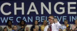 Illinois Senator and Democratic Presidential candidate Barak Obama (cq) spoke to a crowd of...