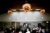 Republican senate candidate Bob Schaffer speaks to the University Hills Rotary Club during a...