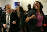 Pennsylvania delegate Joe Day (cq), left, freaks out Illinois delegate Nancy Hairston (cq) as he...