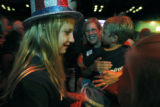 After the polls closed Mallory LeFebre, 12 wears her election hat with mom Annemarie LeFebre...