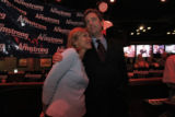 Wil Armstrong hugs his wife Kristy before making his concession speech at the Fox and Hound in...