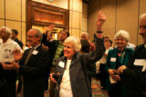 (seqn) Ruth McGregor cheers as results come in for  Colorado Secretary of State Mike Coffman who...