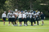 (seqn) The Denver Broncos defence prepares for the Dallas Cowboys as they practice together at...