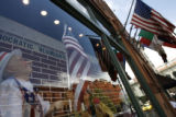 A window display at the Oxford Hotel in Downtown Denver depicts a scene of Democratic delegates in...