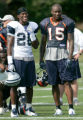 (seqn) Dallas Cowboys #26 Ken Hamlin, left, and Denver Broncos wide reciever Brandon Marshall...