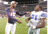 (seqn) Denver Broncos #15 Brandon Marshall, left and Dallas Cowboys #21 Adma Jones remain friends...