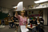 Stephanie Rossi (cq) a 28-year veteran teacher begins her class  at Wheatridge High School, 9505...