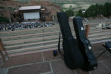 Guitars lean against a guard rail before the start of an attempt at the world's largest guitar...