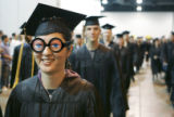 Seunghee Clifton , (cq) a BFA student from Arvada, wearing novelty glasses,  enjoyed the moment as...