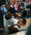 0191 Denver Nuggets center Nene (31), is fouled while taking one to the hoop in the second quarter...