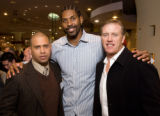 (Denver, Colorado, Dec. 9, 2008) Chris Christmas (a sponsor), Nen  Hilario, and John Elway....