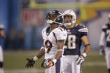 (0119) Eddie Royal looks up after dropping a pass in the second quarter of the Denver Broncos...