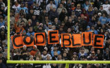 "JPM217 Carolina Panthers fans hold up signs spelling out ""Code Blue"" in the first quater..."