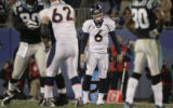 JPM757 Denver Broncos Jay Cutler (6) reacts after having the ball swatted away Carolina Panthers...