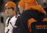 JPM878 Denver Broncos Jay Cutler watches the scoreboard in the third quarter against the Carolina...