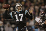 JPM916 Carolina Panthers Jake Delhomme passes against the Denver Broncos  in the third quater on...