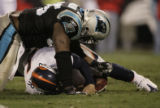 JPM969 Denver Broncos Jay Cutler is sacked by Carolina Panthers Charles Johnson in the fourth...