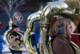 18 year-old Brad Terry (cq) plays his tuba at the annual Tuba Christmas concert at the Skyline...