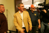 0354 Denver Broncos owner Pat Bowlen and now ex-coach Mike Shanahan hold a press conference to...