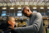 (0227) Gaghe Fox, 13, get his shirt signed by Denver Nugget Chauncey Billups as Billups gives away...