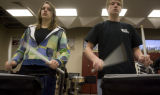 DM3294  Sophomore Sarah Elens and senior Sean Kelly play their snare drums  during drum line...