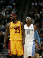 (0471)LeBron James and Carmelo Anthony in the first hal of the Denver Nuggets against the...
