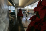 The Christmas decorations are less than impressive as passengers walk by two of the meager...