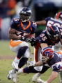 (1123) Selvin Young is tripped up on  kickoff return in the fourth quarter of the Denver Broncos...