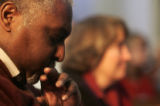 (0176) Ted Travis reflects for a moment at Providence Bible Church in Denver., Colo., on Sunday,...