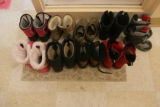 Shoes sit outside a classroom at the YWCA of Boulder County at 2222 14th Street in Boulder,...