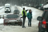 A motorist finds herself  facing the wrong way on west bound I-70 after being involved in a...