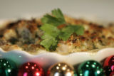 Chef Matt Mine's Bay Scallops Gratin with Button Mushrooms, Parmesan Cheese, and Bread Crumbs...