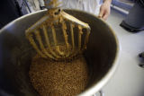 SR(0081) A freshly cooked beans get a ride in a mixer at the Phil's Fresh Foods production...