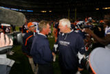DM1553  Coaches Mike Shanahan, left, and Wade Phillips shake hands after the Denver Broncos...