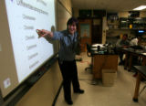 (0148) Biology teacher Judy Schoonmaker teaches mitosis and meiosis in an AP Biology class at...