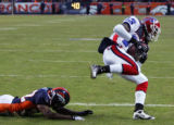 (1001) Dre Bly is beaten by Steve Johnson for a touchdown in the fourth quarter of the Denver...