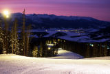 Winter Night Skiing Scenic View of Dillon Reservoir from Keystone.  Photo by Ben...