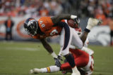 JPM1050  Denver Broncos tight end Daniel Graham (89) bounces off a tackle attempt by Kansas City...
