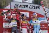DM1681  BirdsOfPrey56022 American Ted Ligety, second place, from left, Austrian Benjamin Raich,...