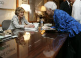 "Actress Jane Fonda signs her new book ""My Life so Far"" after addressing a crowd of 200..."