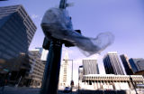 Wind whipped around debris in downtown Denver, Colo. Monday February 9, 2009.  Denver became the...