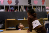 (PG0260) Alanah Smith, 2, (cq) (right) and Dayannara Acosta, 4, (cq) (center) play in the toddler...