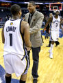 (SPECIAL TO THE ROCKY MOUNTAIN NEWS) Denver Nuggets player Carmelo Anthony (center) greets Memphis...